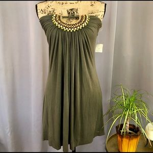🆕 F21 olive green beaded strapless tunic